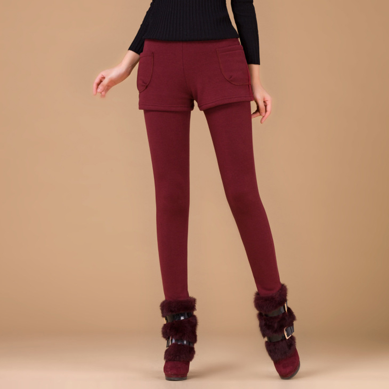 Female Trousers Short-Pants Leggings Women Autumn Winter Warm Fake Two-Pieces New-Arrival