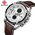 MEGIR Кварцевые Часы Класса Люкс Black Leather Fashion Часы для Мужчин Случайные Коричневый Три глаза Хронограф Спортивные Часы Наручные Часы