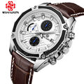 MEGIR Quartz Watches Luxury Black Leather Fashion Watch for Men Casual Brown Three-eyes Chronograph Sport Watch Wrist Watch