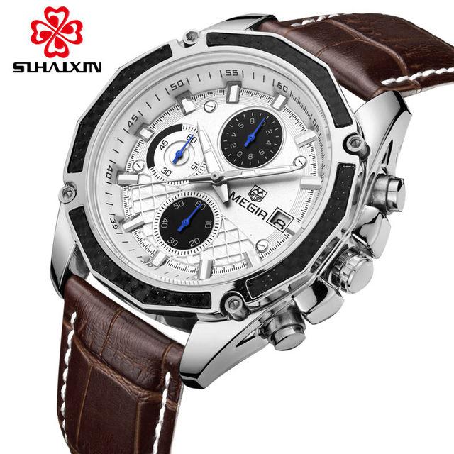 Megir relógio de forma de quartzo relógios de luxo de couro preto para os homens casuais marrom três-olhos chronograph sport watch relógio de pulso