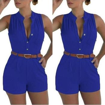 2019 New Style Rompers Womens Casual Jumpsuits Large Size Deep V-neck Overalls for Women Rompers Polyester  Bodysuits with Belt 4