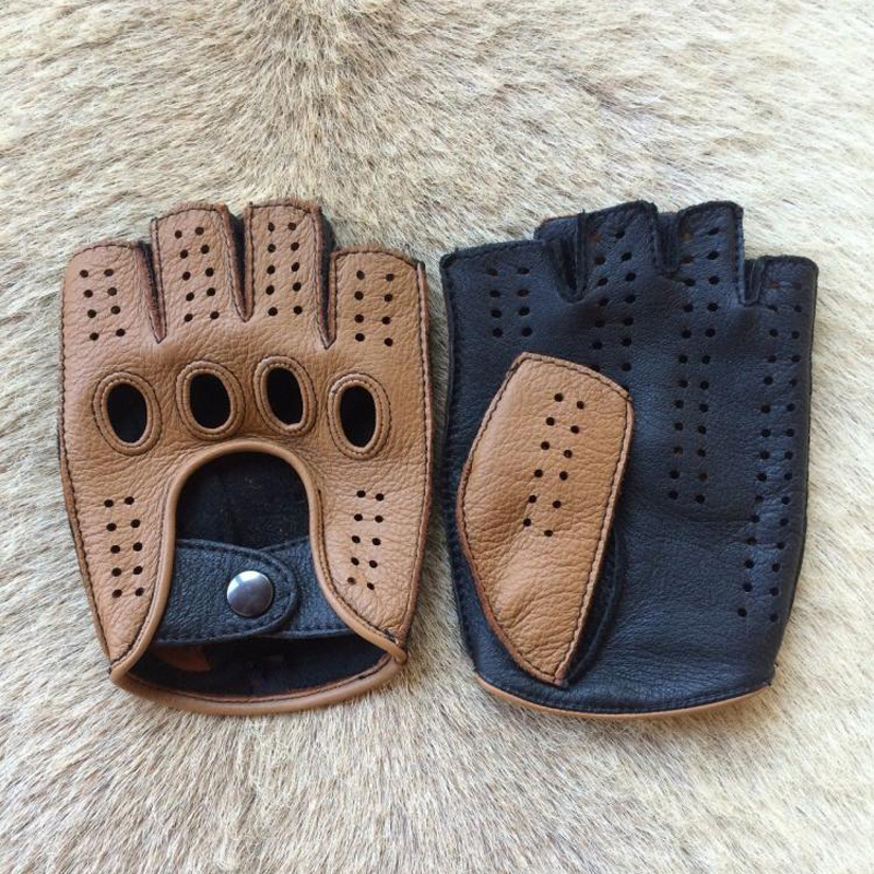 High Quality 2019 New Half Finger Men Genuine Leather Gloves Goatskin Gloves Fashion Men Breathable Driving Gloves Male Mittens