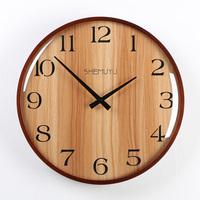Hot Sale Wall   Clock   Wood Retro Digital Type Single Face Hanging   Clock   Retro Autumn Scenery   Clocks   Home Desk Decor 2 Types