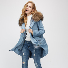 Europe Women Winter Fashion Loose Washed Jeans Big Real Raccoon Hooded Rabbit Fur Liner Denim Blue Jackets Parkas Thick Coats