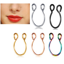 TIANCIFBYJS Stainless Fake Nose Ring Labret Lip Stud Clip Piercing Helix Tragus Nose Rings Hoop Neus Pircing Body Jewelry 1pcs(China)