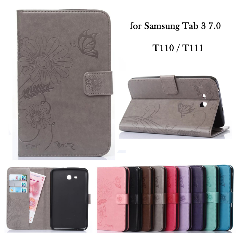 Case for Samsung Tab 3 7.0 Lite T110 T111 PU Leather Sleeve Flower Wallet Flip Stand TPU Tablet Case Cover Auto Sleep