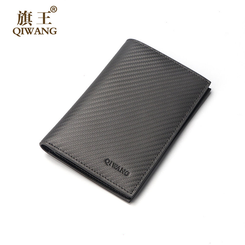 Qi Wang Men's Wallet Carbon Pattern Genuine Leather Mens Passport Holder Wallets For Man Passport Pocket Credit&ID Card Wallet never leather badge holder business card holder neck lanyards for id cards waterproof antimagnetic card sets school supplies