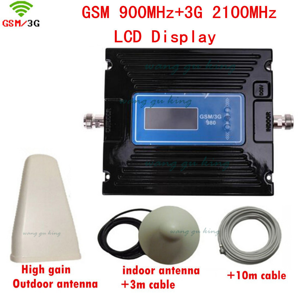 Full Set Dual Band GSM 3G Booster With Signal Display Screen Including Antenna And Cable, GSM WCDMA Repeater Set At 900 2100 MHz