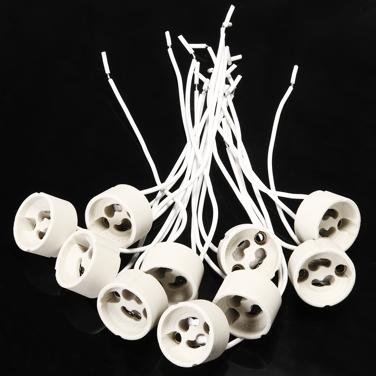 10pcs/lot GU10 Lamp Holder Socket Bbase Adapter Wire Connector Ceramic Socket For LED Halogen Light Light Accessory