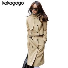 Luxury Autumn Spring Khaki Black Double Breasted Sleeve Turn down Collar 2 Sets Long Windbreaker Overcoat