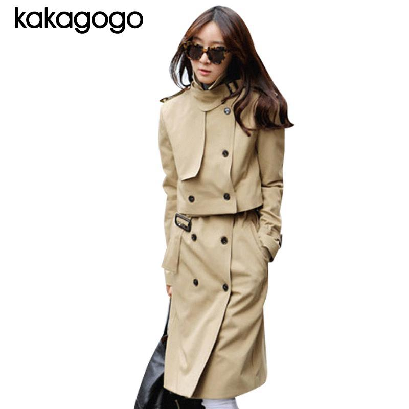 Luxury Autumn Spring Khaki Black Double Breasted Sleeve Turn-down Collar 2 Sets Long Windbreaker Overcoat Trench Coat Dress K023