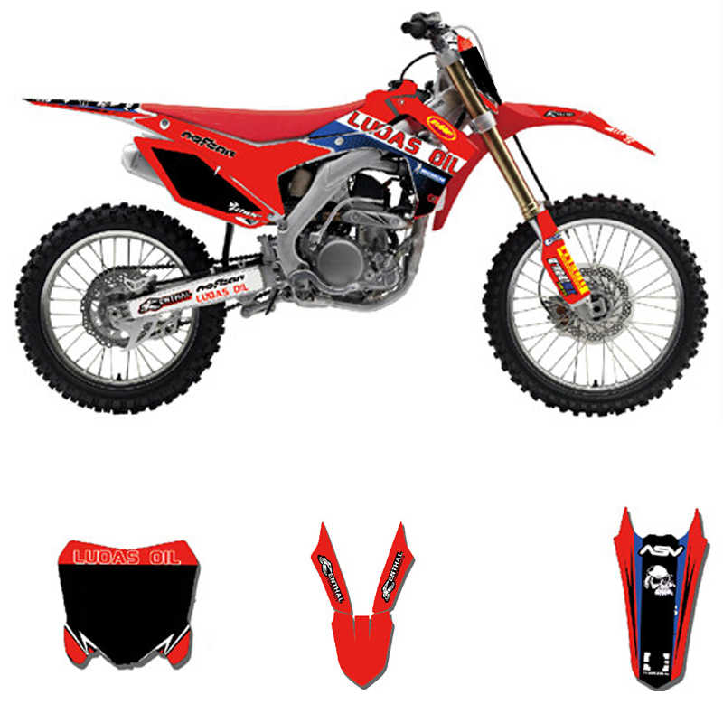 Customized Number Full GRAPHICS BACKGROUNDS DECAL STICKER Set For Honda  CRF250R CRF250 2014 - 2017 CRF 450 CRF450R 2013 - 2016