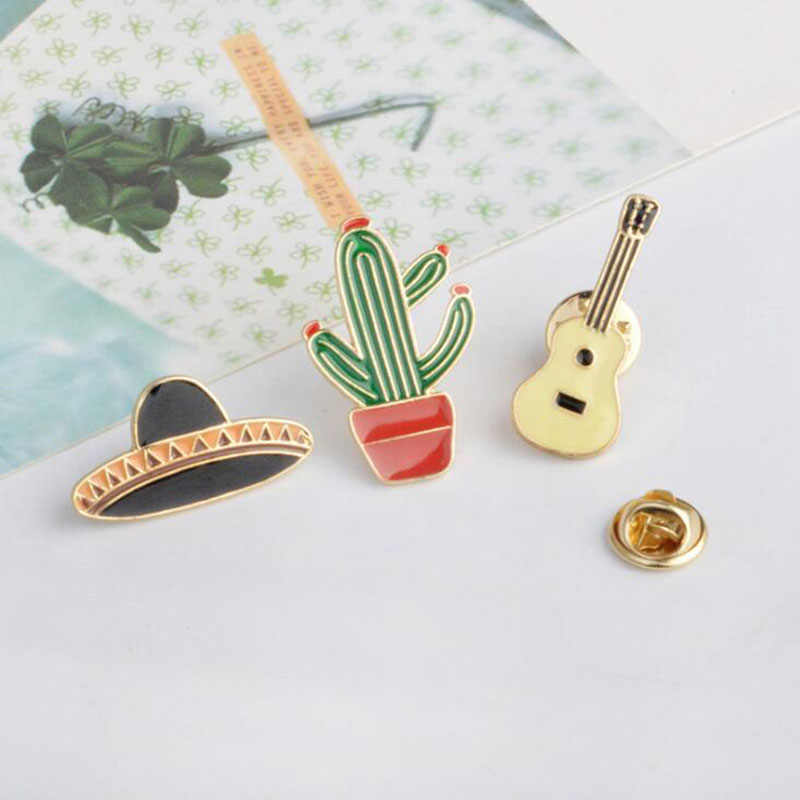 3 Mexican Hat Guitar Cactus Planet Epoxy Metal Cute Pin Badge Jeans Jacket Girl Gift Bag Fashion Jewelry Badge Decoration Gift