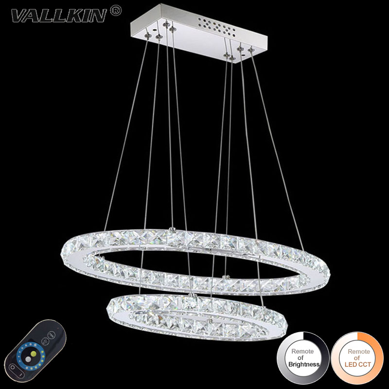 VALLKIN  Dimmable LED Crystal Oval Pendant Lights  Lamps Fixtures with 2 Rings AC100 to 240V CE FCC UL  цены