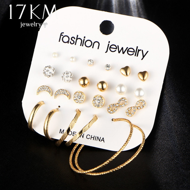 17KM Fashion Female Earrings Set For Women Mixed Rhinestone Crystal Simulated Pe