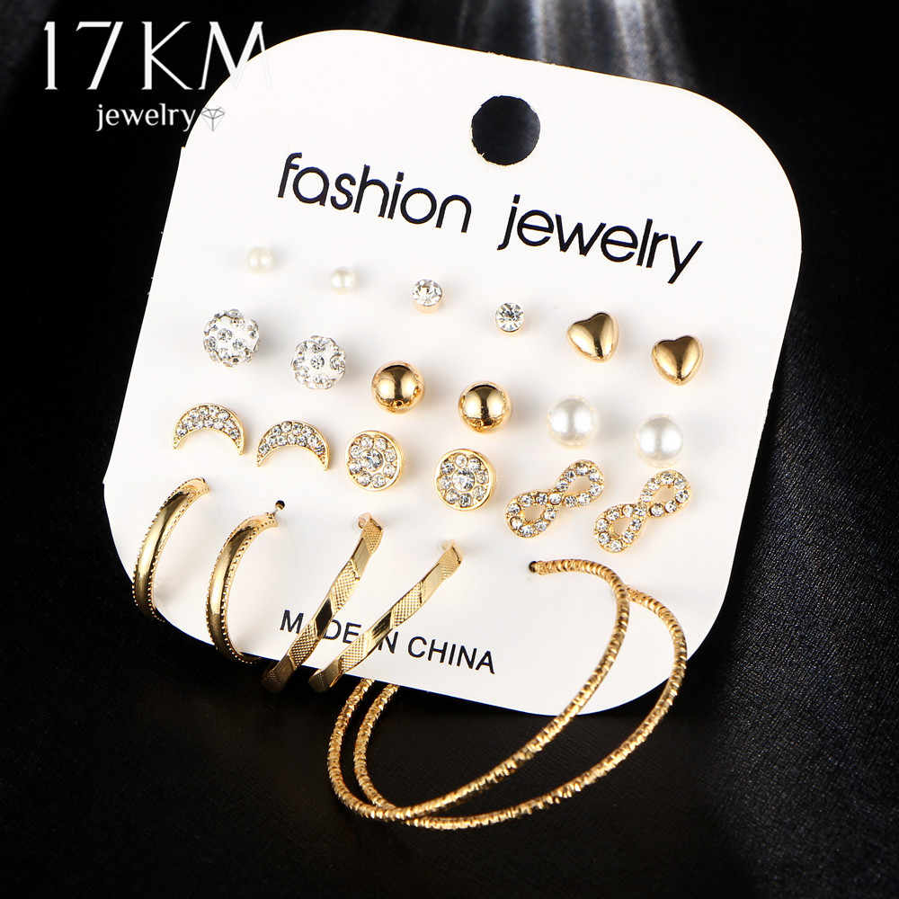 17KM Fashion Female Earrings Set For Women Mixed Rhinestone Crystal Simulated Pearl Big Circle Earrings Brincos Party Jewelry
