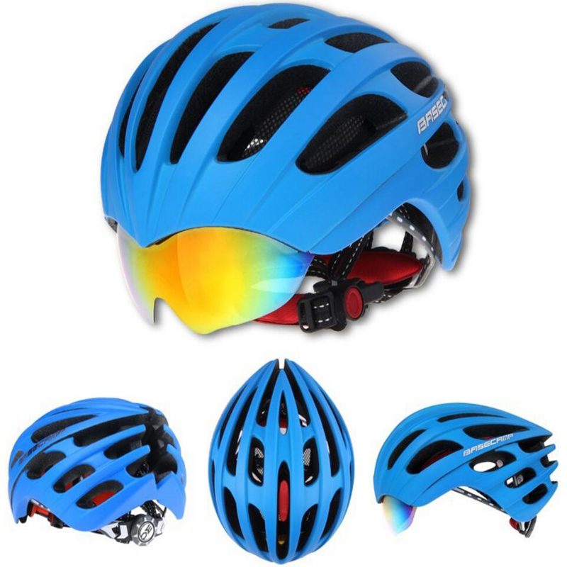 2017 Real Basecamp Bicycle Helmets With Cycling Glasses Ultralight Breathable Men Women Professional Bike Mirror 3 Lens H5063 new bicycle helmets sunglasses cycling glasses 3 lens integrally molded men women mountain road bike helmets 56 62cm