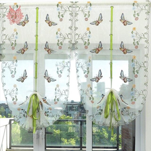 Pastorale floreale della farfalla del ricamo tirare su e gi tenda tulle trasparente porta - Finestra a bovindo ...