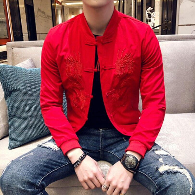 Вышивка Для мужчин модная куртка Повседневное тонкий Дизайн уличная Бейсбол пальто с длинным рукавом Твердые Цвет хип-хоп Для мужчин Куртк...