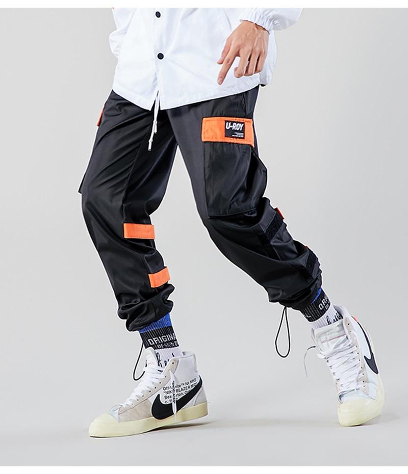 Aolamegs Men Casual Track Pants Splicing Contrast Pants Men Elastic Waist Sweatpants Men High Street Hip Hop Pants Streetwear (13)
