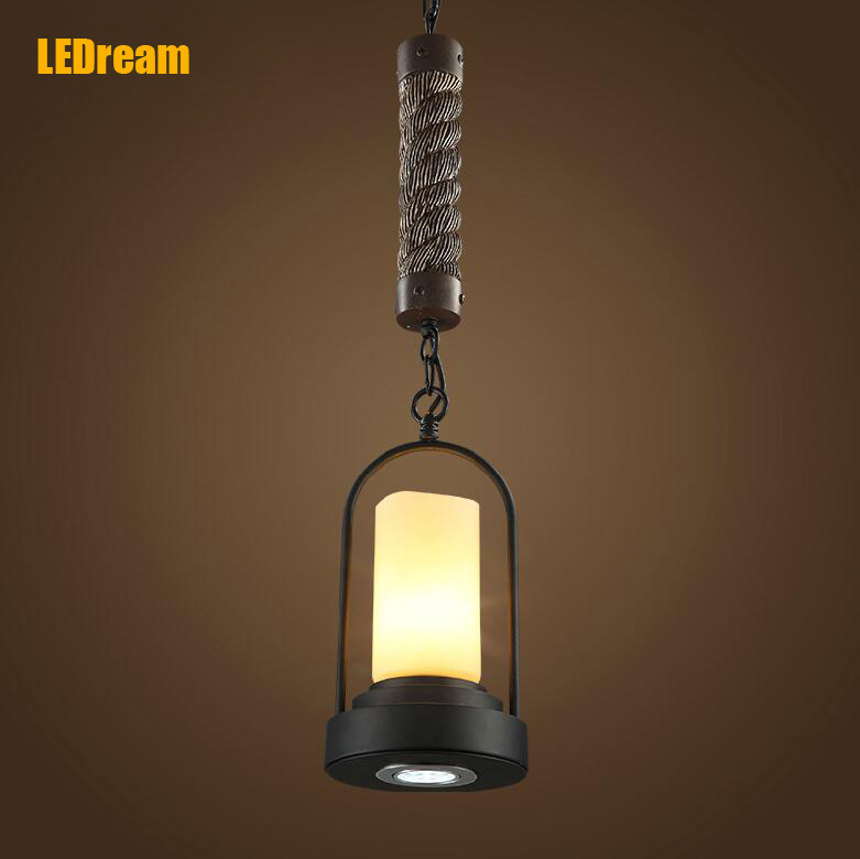American country creative industry of lamps and lanterns retro restaurant bar hemp rope candlestick droplight jingdezhen ceramic lamps and lanterns of blue and white enamel thin waist drum desk lamp506