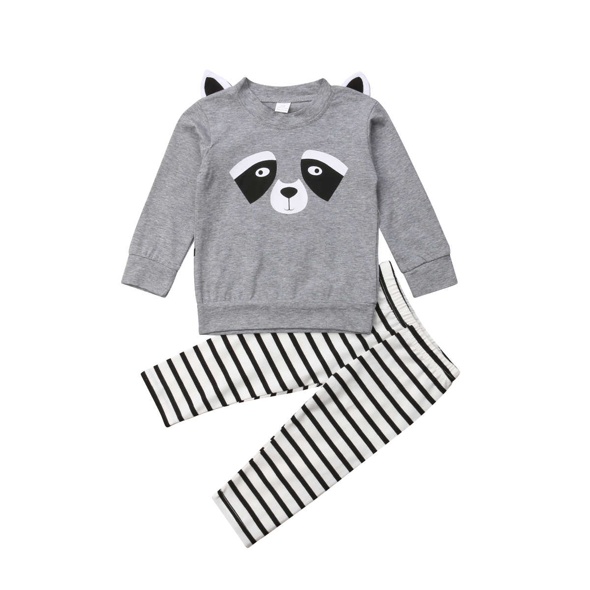 fb68da6193206 2Pcs Newborn Infant Baby Boy Girls Cotton Raccoon cat Tops T shirt Striped  Pants Trousers Outfits