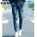 Весна мужские джинсовые бегунов шаровары старинные кислоты промывают мульти-карманы упругие манжеты падения промежность конические джинсы для мужчин молодежи