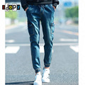 Primavera de Mezclilla de Los Hombres Joggers Pantalones Harem de La Vendimia Lavada Con Ácido Multi-bolsillos Puño Elástico Tiro Caído Cónicos Pantalones Vaqueros de Carga para Los Jóvenes