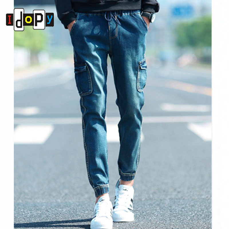 Spring Men`s Denim Joggers Harem Pants Vintage Acid Washed Multi-Pockets Elastic Cuff Drop Crotch Tapered Cargo Jeans For Youth