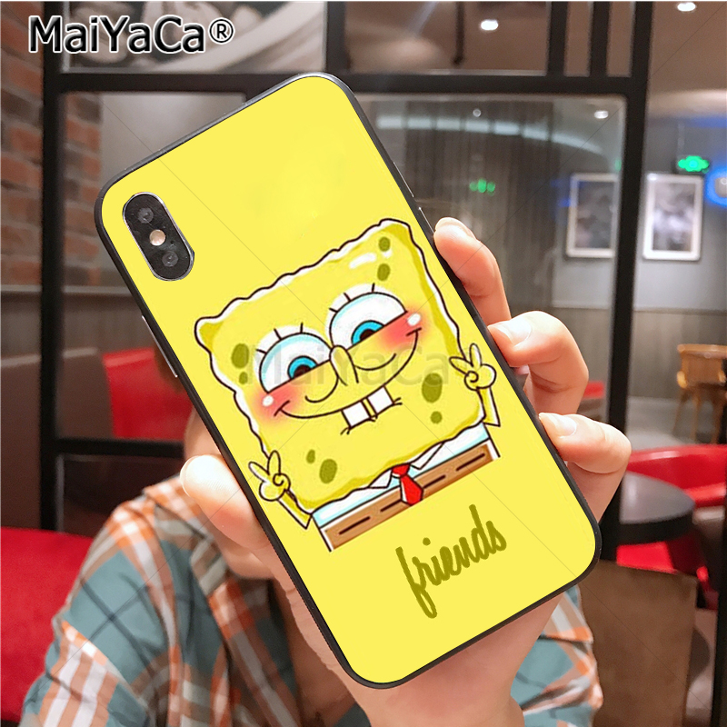 soft black silicone Best Friends Forever BFF Spongebob couple Back phone case For iPhone 6s X XS XR 8plus se 5s 6s 7 plus case