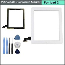 Touch Screen Glass Digitizer Replacement+ Adhesive Glue Tape With Home Button and Tools for iPad 2 digitizer white Free Shipping