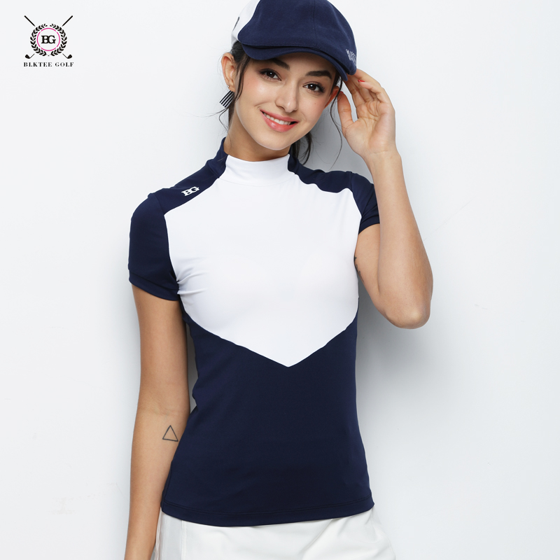 golf T shirt women short-sleeve cool feel shirt neck protect quick-dry thin lady golf jersey sports tops navy pink S~XL girl everio summer golf t shirt short sleeve polo shirt quick dry breathable golf wear 5colors