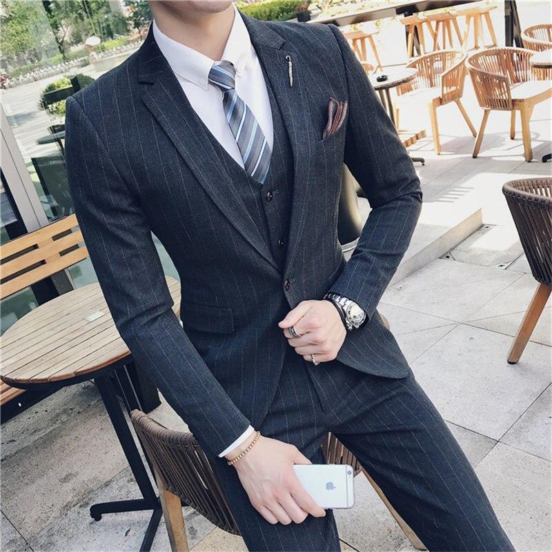 Terno Masculino Suit Men Costume Homme Stripe Costume Men Wedding Suits Slim Fit Men's Suits Chalecos Para Hombre