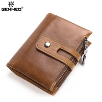 GENMEO New Arrival Genuine Leather Wallets Men 2018 Real Leather Bifold Coin Purse with SIM Card Holder Clutch Money Bag Bolsa