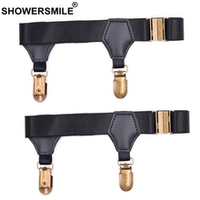 SHOWERSMILE Black Sock Suspenders Mens Leg Elastic Garters For Stockings Men Braces Adjustable Underwear Gentleman