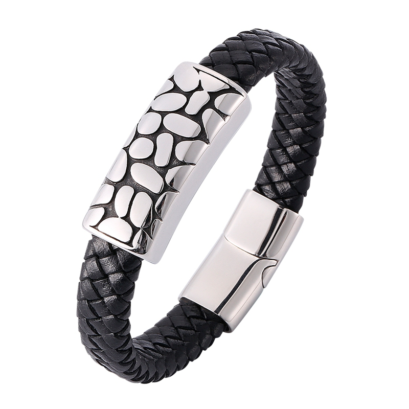 "9/"" Mens Leather Bracelet Stainless Steel Magnetic Buckle Braided Wrist Bangle"