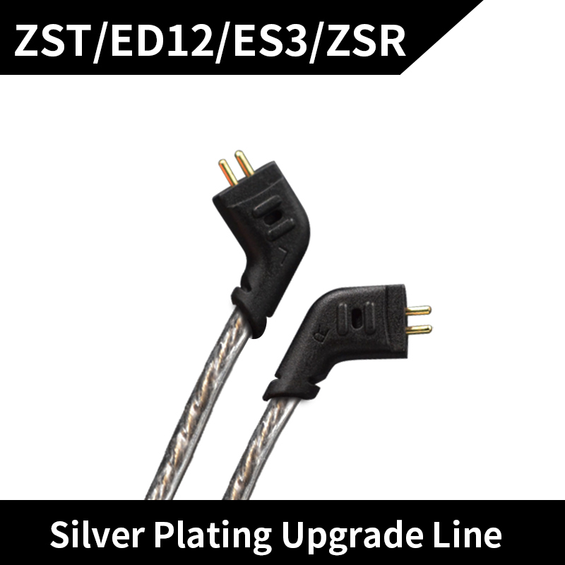 New Original KZ ES3/ZS5/ZS6/ZS10/ZS3/ED12/ZST Cable Silver Plated High Purity OFC Upgrade Earphone Cable 0.75mm For KZ Earphones