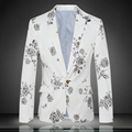 Chinese syle Ink flowers printing fashion casual boutique men blazer 2016 Spring&Autumn high-end single button blazer men M-4XL