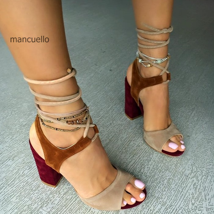 New Arrival Women Charming Color Block Lace Up Summer Heels Comfortable Chunky Heel Open Toe Dress Sandals Fashion Girls Shoes summer new fashion cross tied lace up straps women black leather sandals sexy open toe zipper back chunky heel sandals