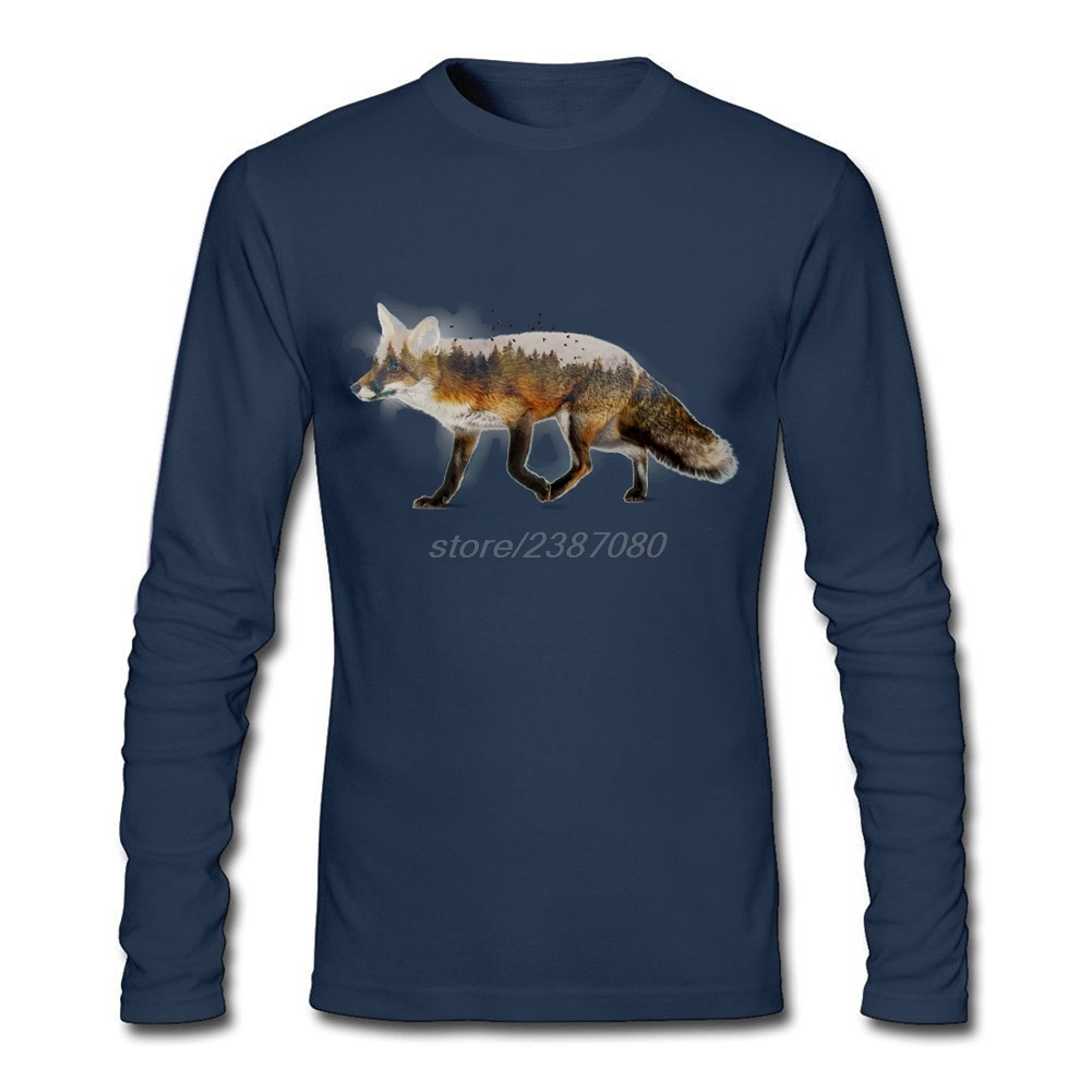 Male Red Fox Clothes Customized O Neck T Shirt Designs Designer Long Sleeve Men's T-Shirt