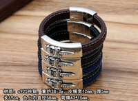 Thai Silver Genuine 925 Silver Mens Jewelry Bracelet For Men Male European and American punk Vajra simple leather bracelet