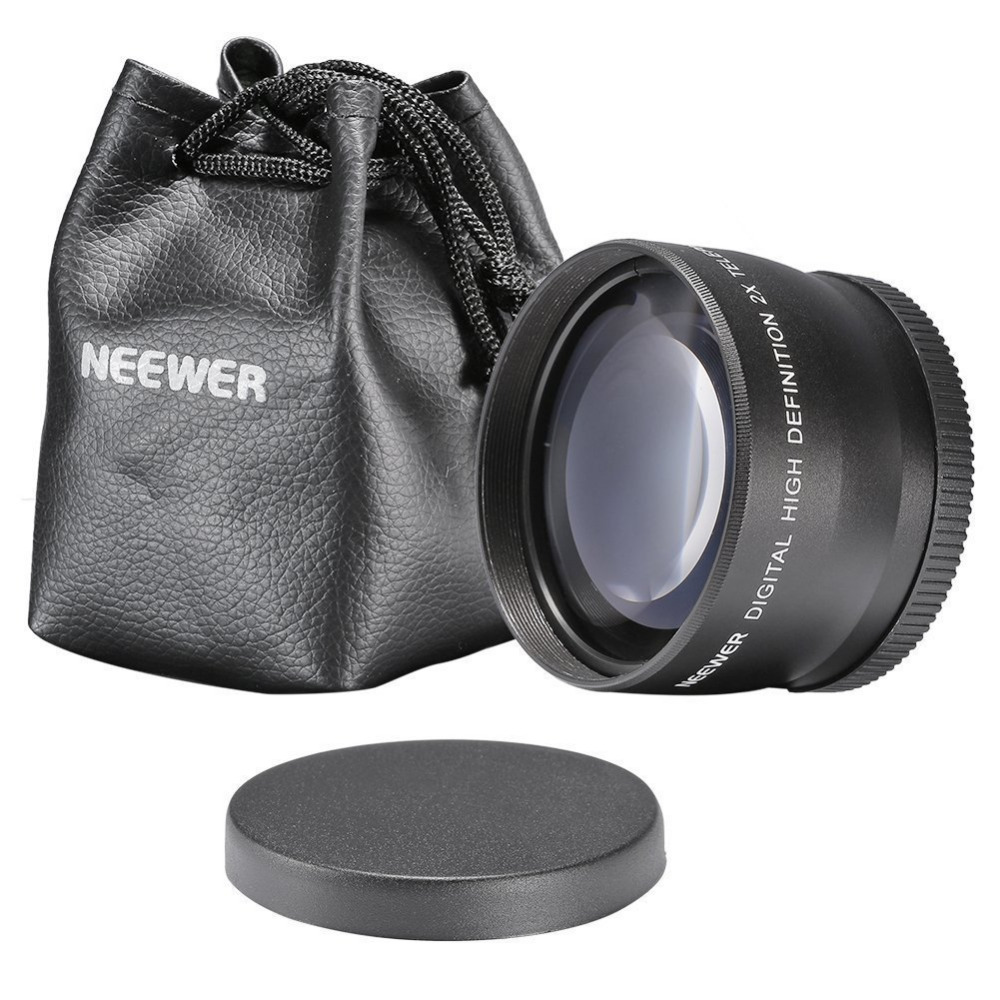Neewer 58mm 2X Telephoto Lens for Canon 350D 450D 500D 1000D 550D Nikon Olympus DSLR Camera Lenses+Lens Bag+Lens Cap