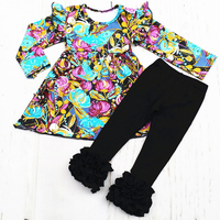 New Arrival Baby Girl Winter 2 Pieces Sets Ruffle Boutique Children Cotton Floral Printed Top Black