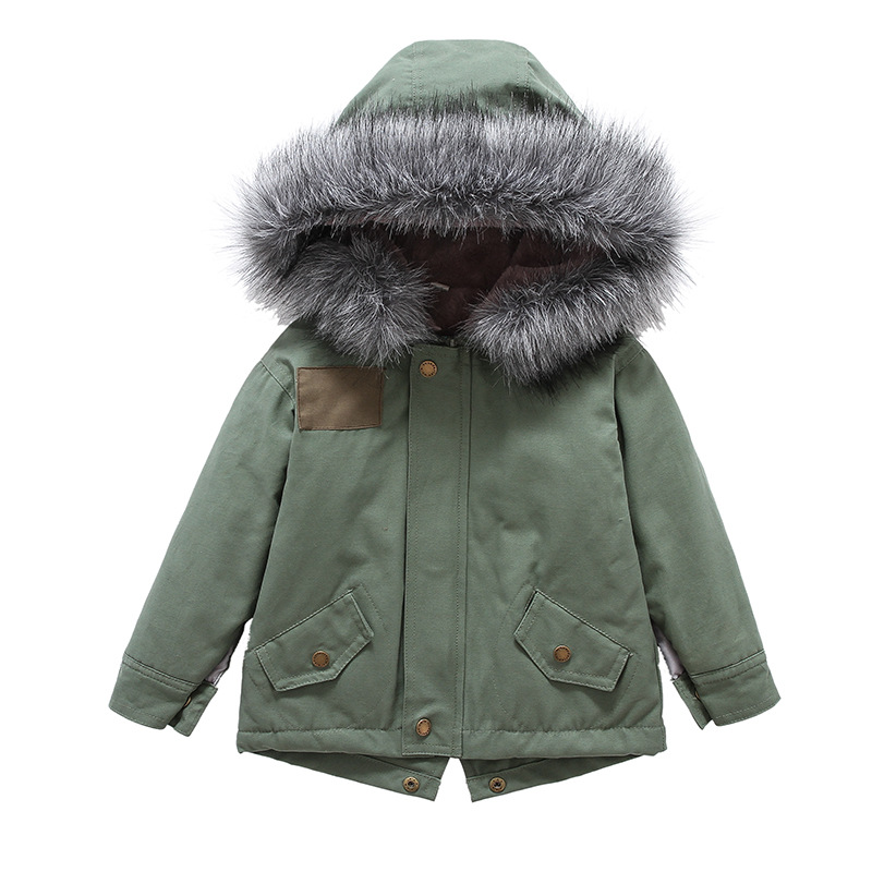 Boy winter cotton-padded Coat Fur Hooded Thick Warm Parka Down Jacket for Girl Children's Outerwear Clothing 2-8T children duck down jacket coat with imitation fur boy girl removable hooded overcoat winter warm thick outerwear kid clothes
