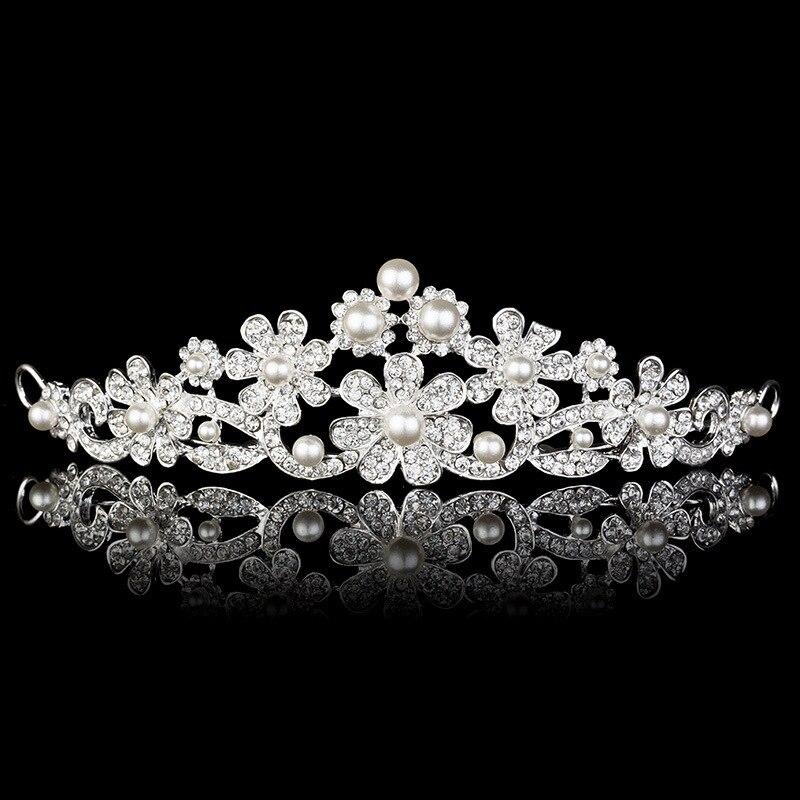 TREAZY Pretty Czech Rhinestone Crystal Imitate Pearl Daisy Floral Wedding Crown Tiara Party Bridal Hair Jewelry Accessories