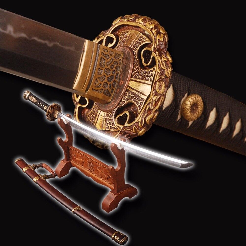 Top Qualità Giapponese Tachi Spada Completamente Lucidato A Mano Argilla Temperato Samurai Sword Pieno Tang Molto Sharp Battle Cosplay Spada