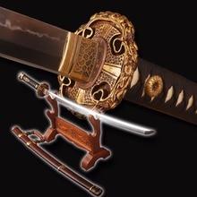 De calidad superior japonés espada Tachi plenamente pulido a mano arcilla templada espada Samurai completa Tang muy fuerte batalla Cosplay espada