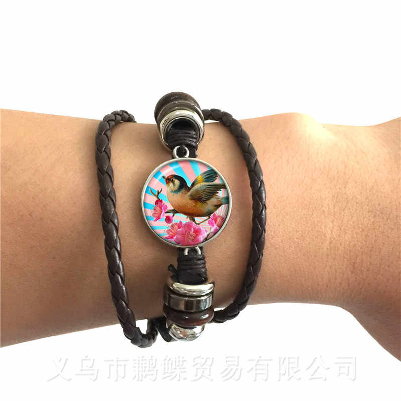 Beautiful Bird Pattern Bracelet Vintage Round Glass Bird Glass Dome Black/Brown 2 Color Leather Cords Adjustbale Bangle Gift