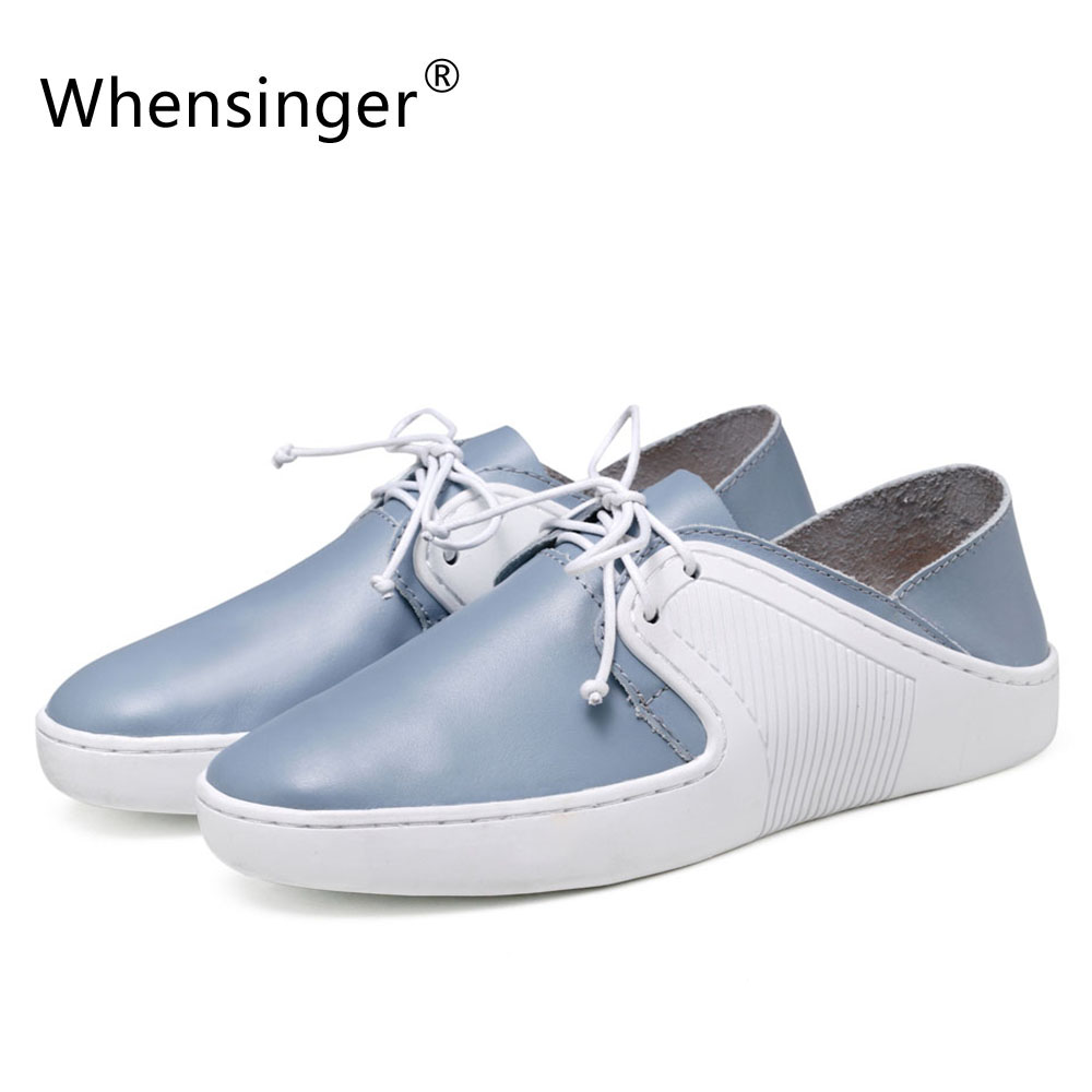 Whensinger - 2017 New Women Genuine Leather Shoes Lace-Up Round Toe Rubber Outsole Flats for Autumn T25-1 whensinger 2017 new women fashion boots genuine leather fashion shoes rubber sole hands sewing 2 color 7126