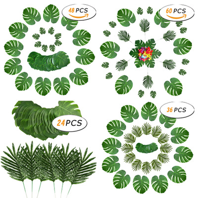 Nicro 24/36/48/60 Pcs Green Jungle Artificial Tropical Palm Leaves Hawaii Simulation Plant Wedding Party Decoration #Art06